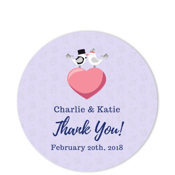 Love Birds Lilac Thank You Sticker