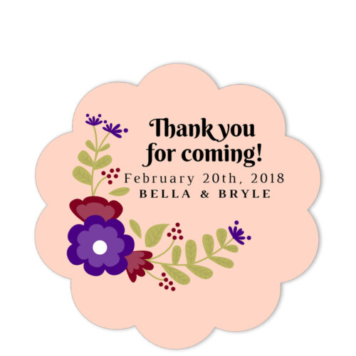 Vineyard Pink Thank You Sticker