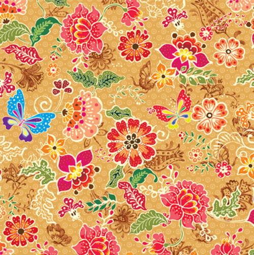Batik Flowers & Butterflies Gift Wrapping Paper