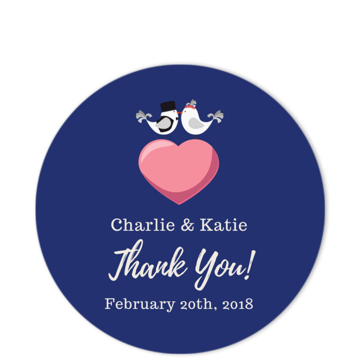 Love Birds Blue Thank You Sticker