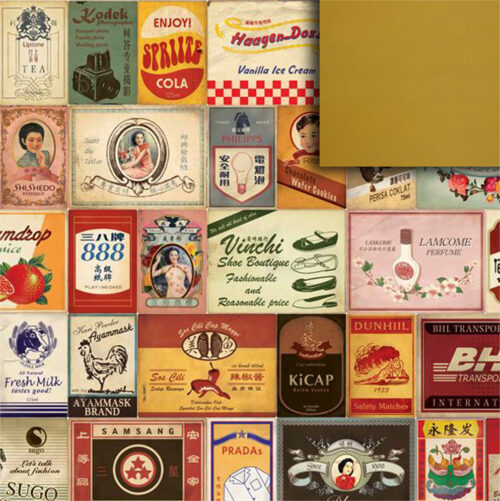 Old Labels Gift Wrapping Paper