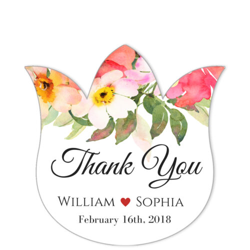 Romantic Bouquet Thank You Sticker