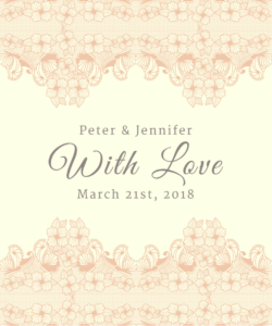 Lace Border With Love Peach Favor Tag