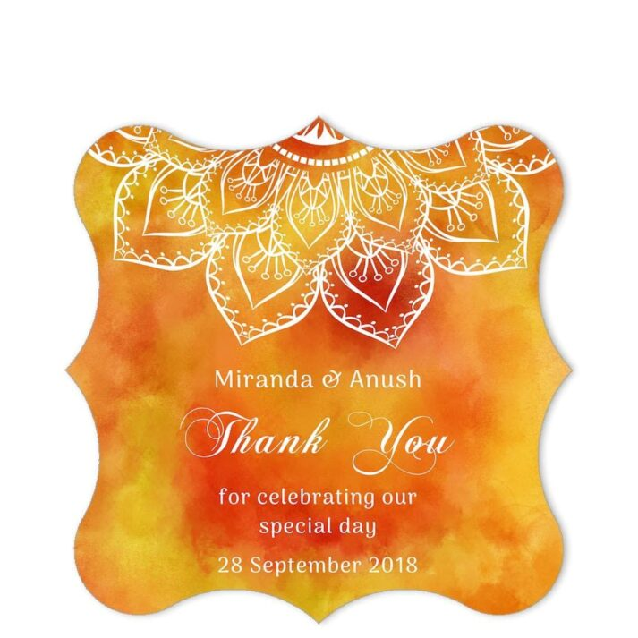 SAF-MAN-1 Saffron Mandala Thank You Sticker