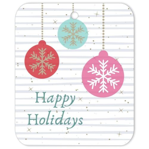 RGP-HHB-TAG-1 Happy Holiday Snowflake Baubles