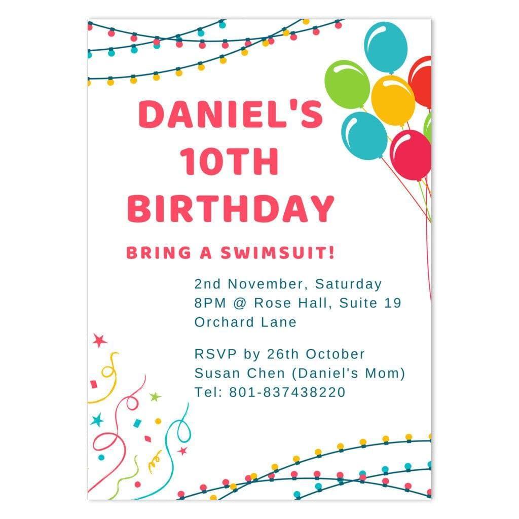 BLB-CEL-INV-1 Birthday Lights and Balloons Invitation