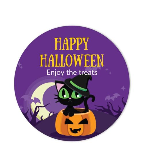 CAT-HAL-1 Witch Cat Halloween Sticker