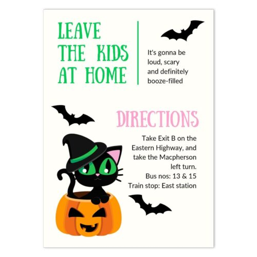 CAT-HAL-INV-1 Witch Cat Halloween Invitation