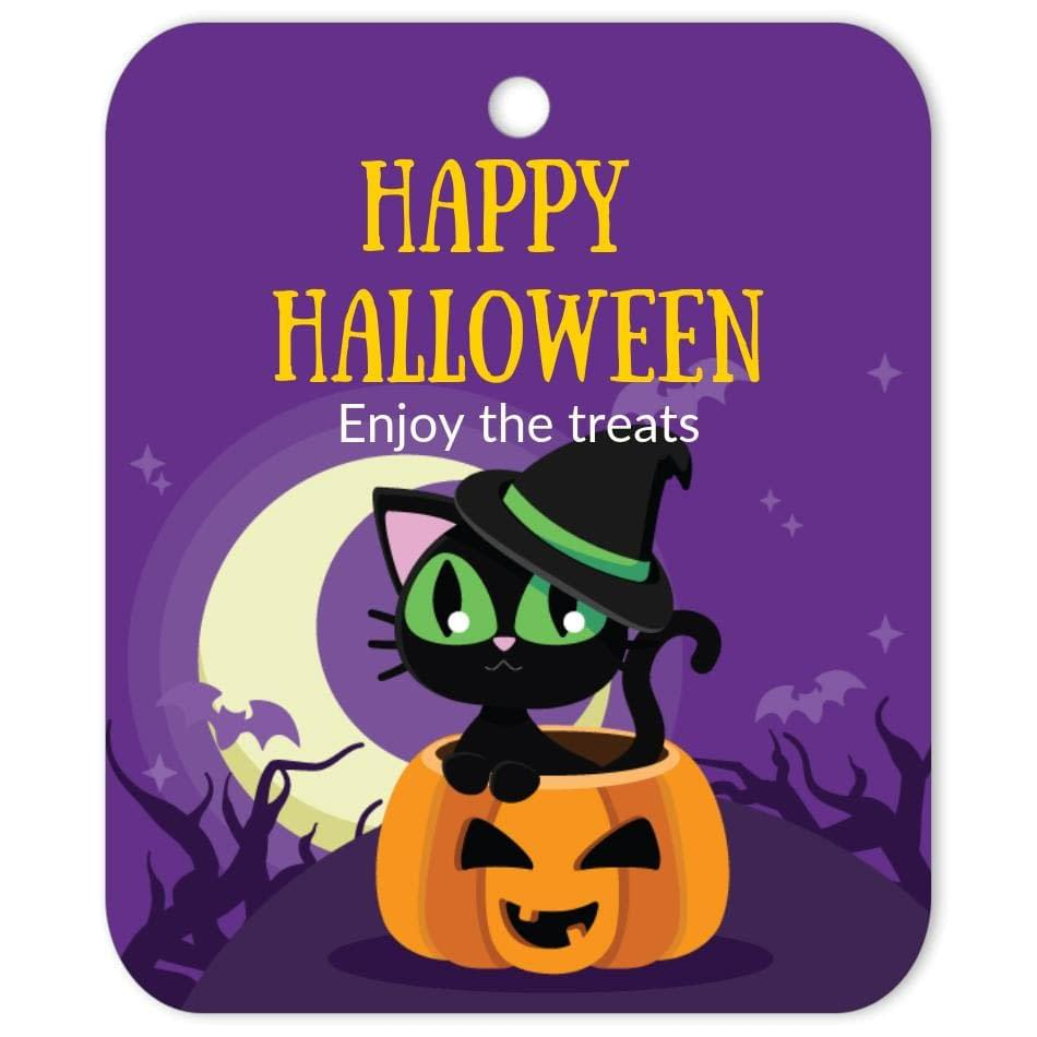 CAT-HAL-TAG-1 Witch Cat Halloween Tag