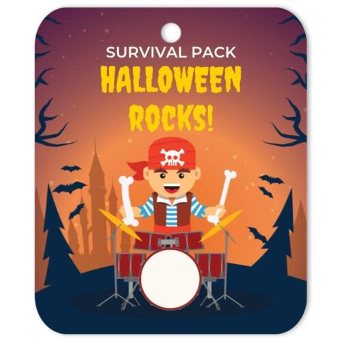 PIR-HAL-TAG-1 Pirate Drummer Halloween Tag