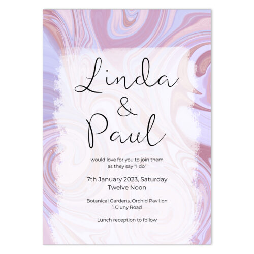 SWI-PNK-INV-1_Swirl Wedding Invitation Card