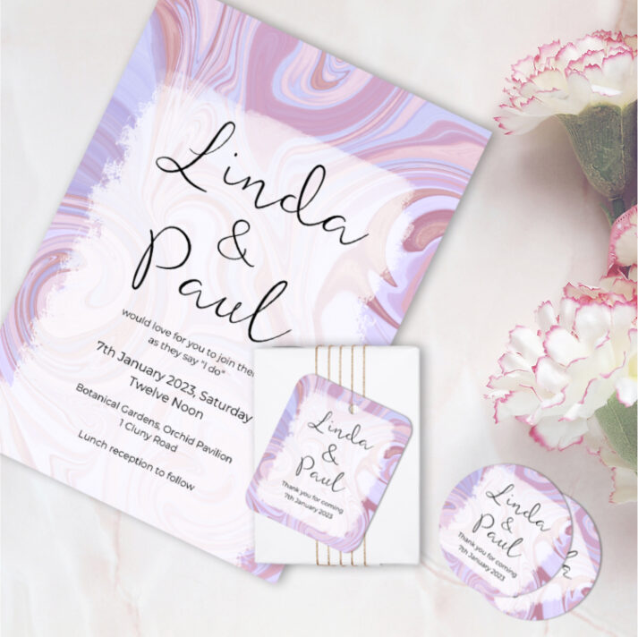 SWI-PNK Swirl Wedding Invitation Card, Favor Gift Tag, Favor Sticker Label