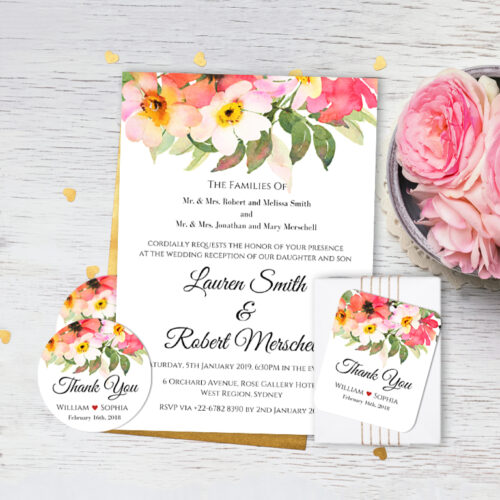 BOU-TOP-INV-1_Top Bouquet Wedding Invitation Card, Favor Gift Tag, Favor Sticker Label