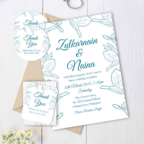 LEA-CRO-INV-1_Leaf Crown Wedding Invitation Card, Favor Gift Tag, Favor Sticker Label
