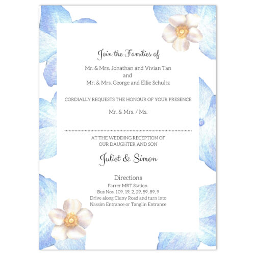 VBR-BLU-INV-1 Periwinkle Blue Roses Wedding Invitation Card