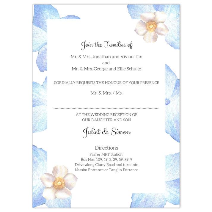 VBR-BLU-INV-1 Periwinkle Blue Roses Wedding Invitation Card