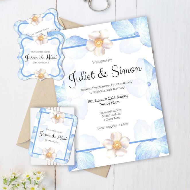 VBR-BLU-INV-1 Periwinkle Blue Roses Wedding Invitation Card, Favor Gift Tag, Favor Sticker Label