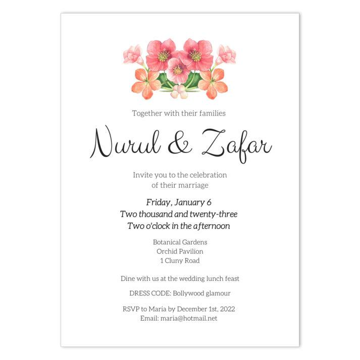 VBR-BOU-INV-1 Vintage Briar Bouquet Wedding Invitation Card