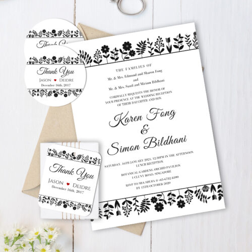 FLO-BED-INV-1 Flower Bed Diamond Invitation Card