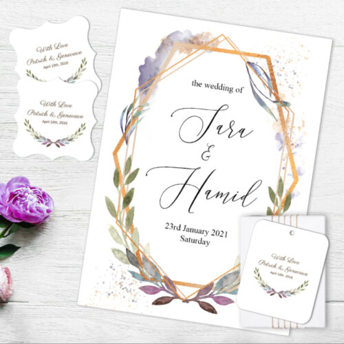 GRE-LOV-INV-1 Grecian Invitation Card, Gift Tag, Sticker Label