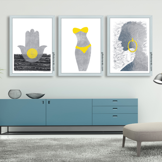 STO-YEL-3SET-1 Stone Yellow Wall Art