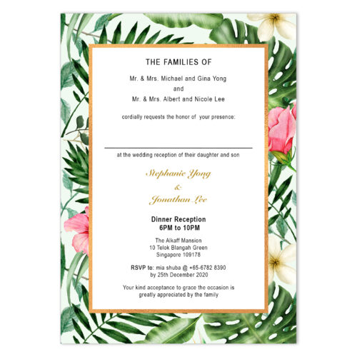 TRO-HIB-INV-1 Tropical Hibiscus Invitation Card