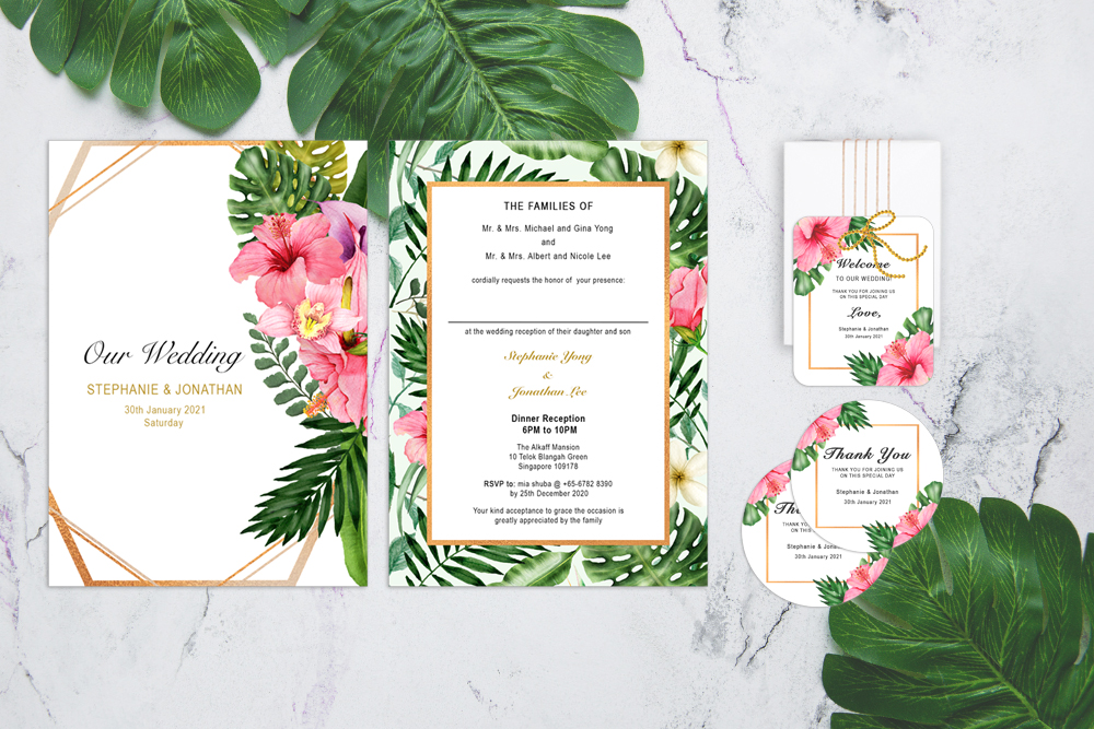 TRO-HIB-TAG-1 Tropical Hibiscus Wedding Invitation, Sticker Labels & Gift Tags