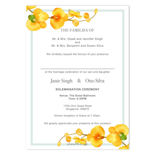 TRO-ORC-INV-1 Tropical Orchids Invitation Card