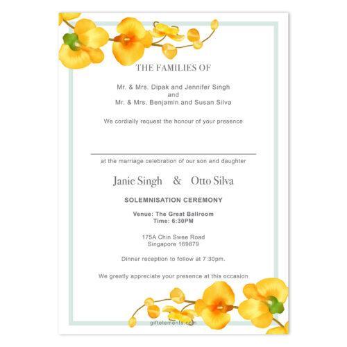 TRO-ORC-INV-1 Tropical Orchids Invitation Card