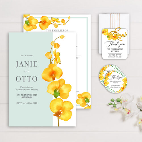 TRO-ORC Tropical Orchids Wedding Invitation, Sticker Labels & Gift Tags