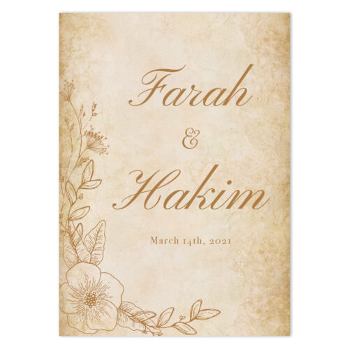 VIN-TAG-INV-1 Vintage Wedding Invitation Card