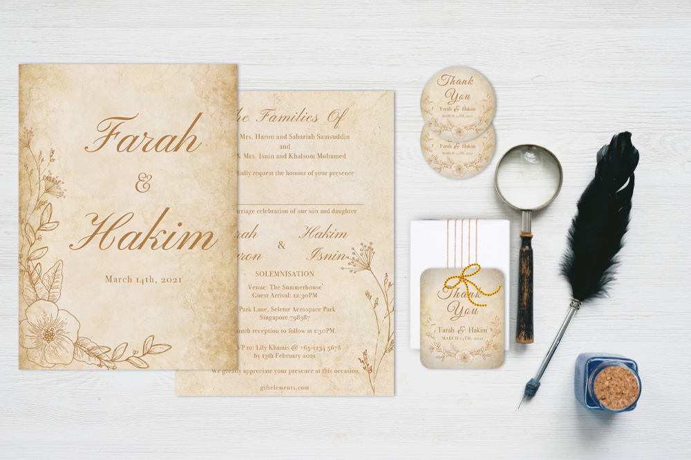 VIN-TAG Vintage Wedding Invitation, Sticker Labels & Gift Tags