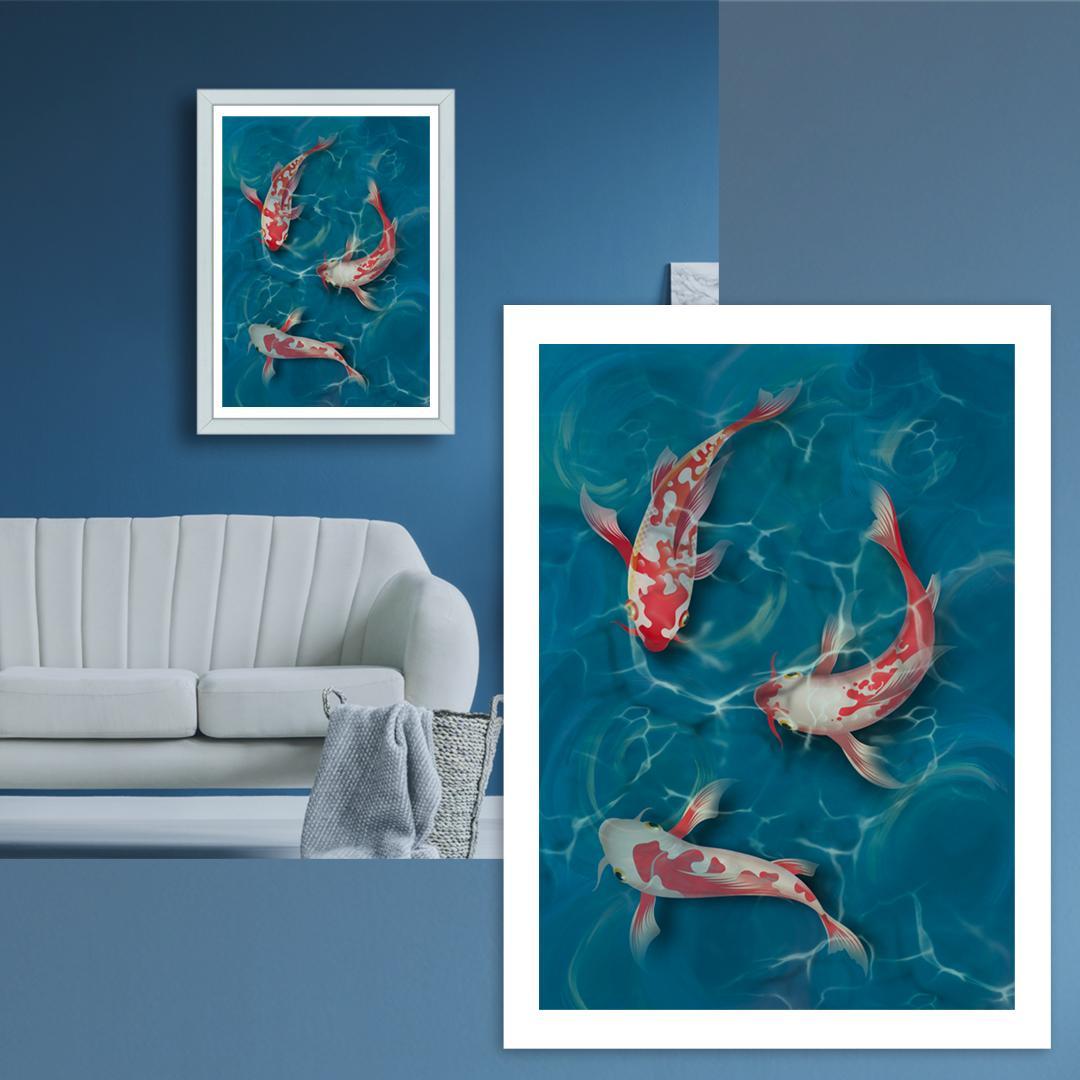 Three Koi Wall Art A3 Free Download