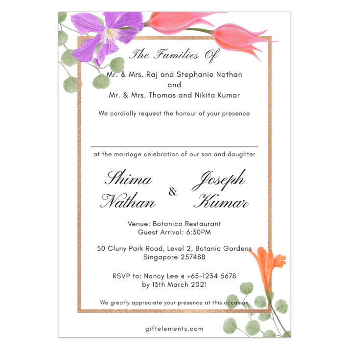 FOR-BOU-INV-1 Forest Bouquet Invitation Card