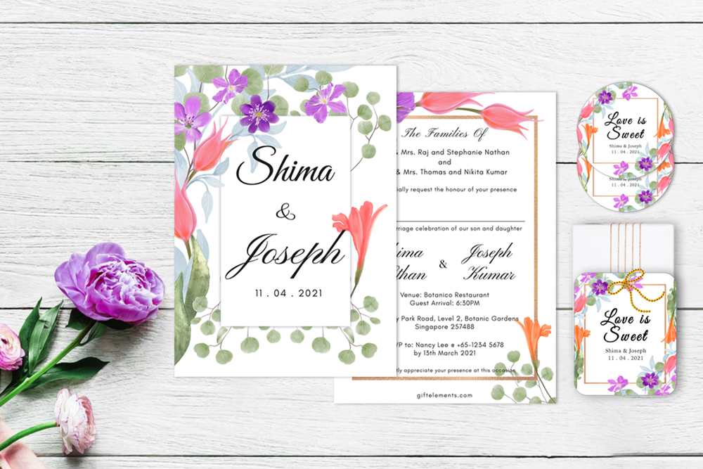 FOR-BOU Forest Bouquet Wedding Invitation, Sticker Label and Gift Tag